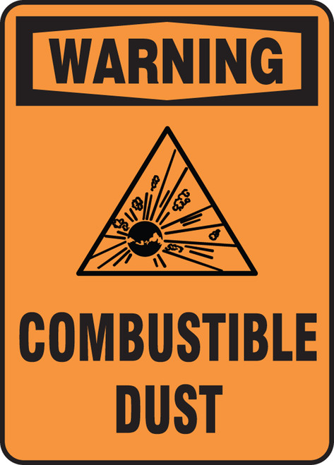 Warning - Warning Combustible Dust W/Graphic - Dura-Fiberglass - 14'' X 10''