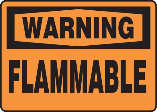 Warning - Flammable - Adhesive Dura-Vinyl - 10'' X 14''