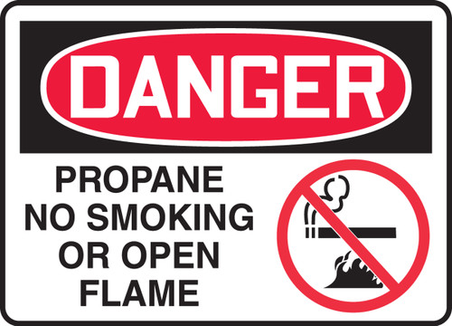 Danger - Propane No Smoking Or Open Flame (W/Graphic) - Plastic - 10'' X 14''