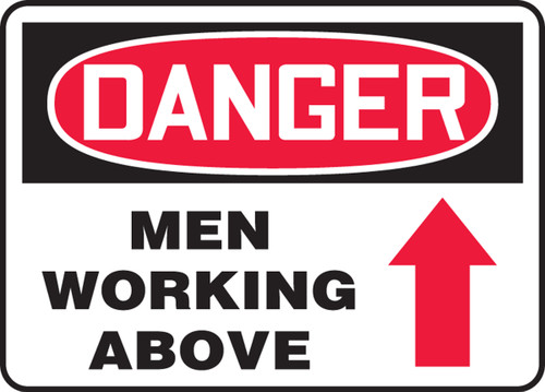 Danger - Men Working Above (Arrow) - Adhesive Vinyl - 14'' X 20''