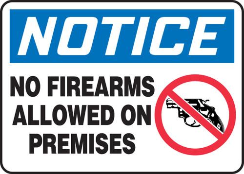 Notice - No Firearms Allowed On Premises (W/Graphic) - Aluma-Lite - 5'' X 7''
