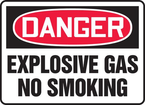 Danger - Explosive Gas No Smoking - Plastic - 10'' X 14''