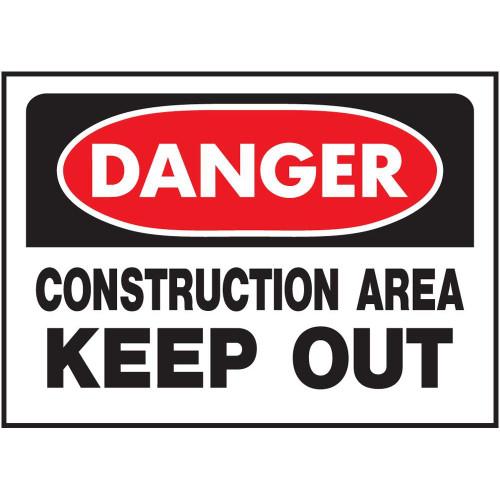 Danger - Construction Area Keep Out - Re-Plastic - 10'' X 14''