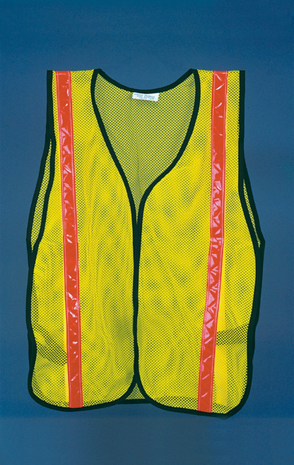 Safety Vest- Fluorescent Yellow-green With Orange Stripes
