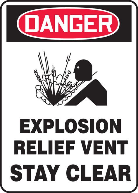 Danger - Danger Explosion Relief Vent Stay Clear W/Graphic - Dura-Fiberglass - 10'' X 7''