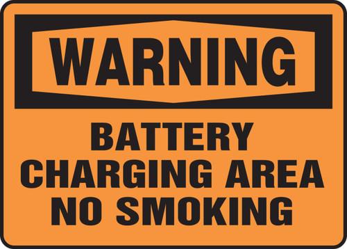 Warning - Battery Charging Area No Smoking Sign- Dura-Fiberglass - 10'' X 14''