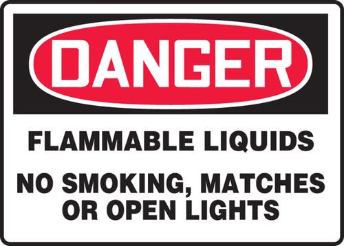 Danger - Flammable Liquids No Smoking, Matches Or Open Lights - Adhesive Vinyl - 7'' X 10''
