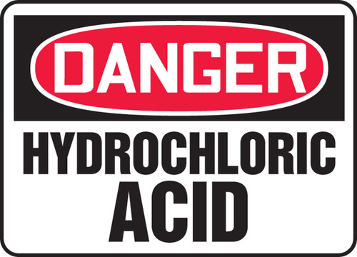 Danger - Hydrochloric Acid - Plastic - 10'' X 14''