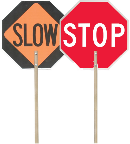 """Paddle Signs- 24"""" Stop On One Side And Slow On The Other"""