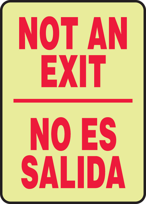 Bilingual Spanish Not An Exit Sign- Glow
