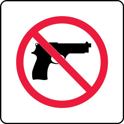 No Handgun Pictorial (Complies With Kansas Conceal/Carry Law) - .040 Aluminum - 8'' X 8''