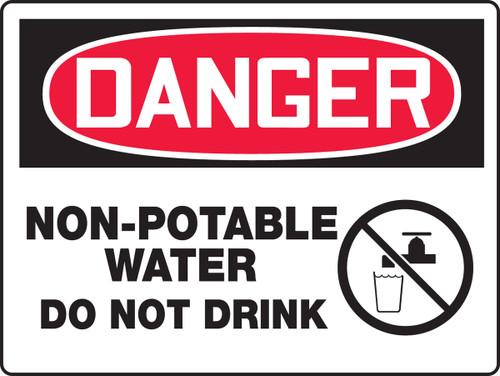 Danger - Non-Potable Water Do Not Drink (W/Graphic) - Adhesive Vinyl - 18'' X 24''