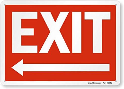 Exit (Arrow Left) - Plastic - 10'' X 14''