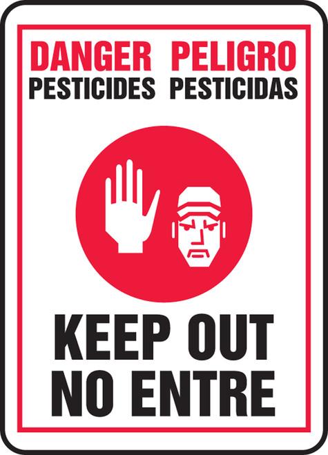 Danger Pesticides Keep Out (W/Graphic) (Bilingual) - Adhesive Dura-Vinyl - 14'' X 10''