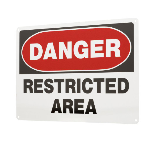 Danger - Restricted Area - Re-Plastic - 14'' X 20''
