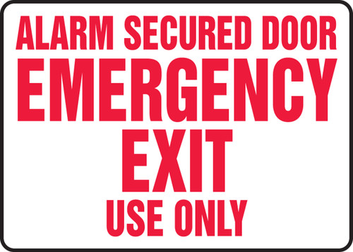 Alarm Secured Door Emergency Exit Use Only - Adhesive Vinyl - 7'' X 10''