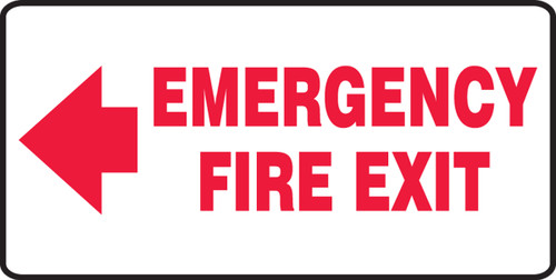 Emergency Fire Exit Sign Arrow Left