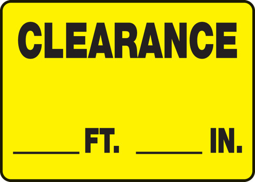 Clearance ___ Ft. ___ In. 1