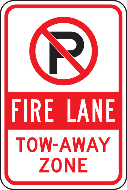 (No Parking Symbol Fire Lane Tow-away Zone