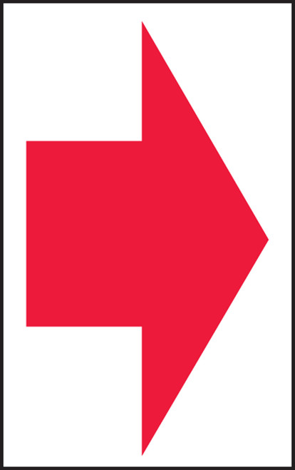 Arrow (Red Arrow On White) - Adhesive Vinyl - 7'' X 5''