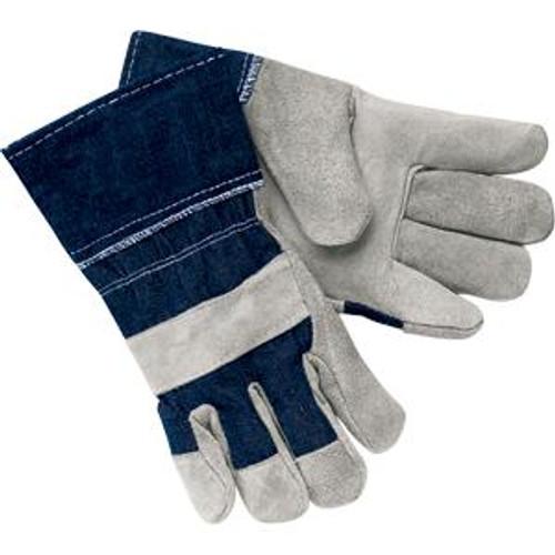 Work Gloves - Split Leather Gloves- Denim Cuff- Large- Dozen