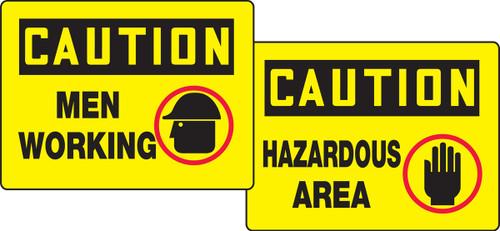 Caution Men Working / Caution Hazardous Area Quik Sign Fold Up Insert