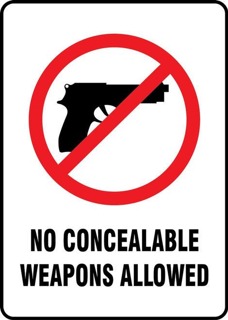 No Concealable Weapons Allowed W/Graphic - Adhesive Vinyl - 14'' X 10''