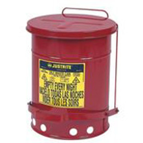Justrite Red Oily Waste Can 6 Gallon w/ foot operated cover