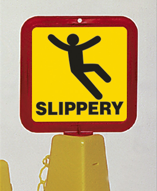 Slippery Sign for use with Safety Cones