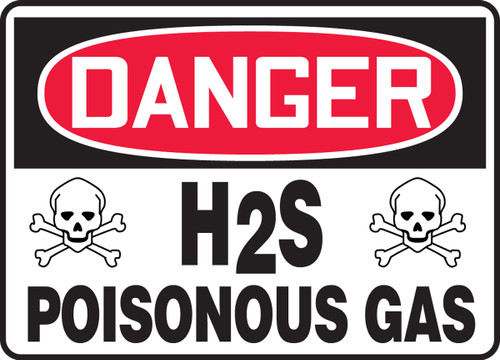 Danger - H2S Poisonous Gas Sign with graphics