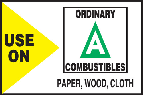 Use On Ordinary Combustibles Paper, Wood, Cloth