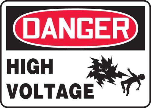 Danger - High Voltage (W/Graphic) - Adhesive Dura-Vinyl - 7'' X 10''