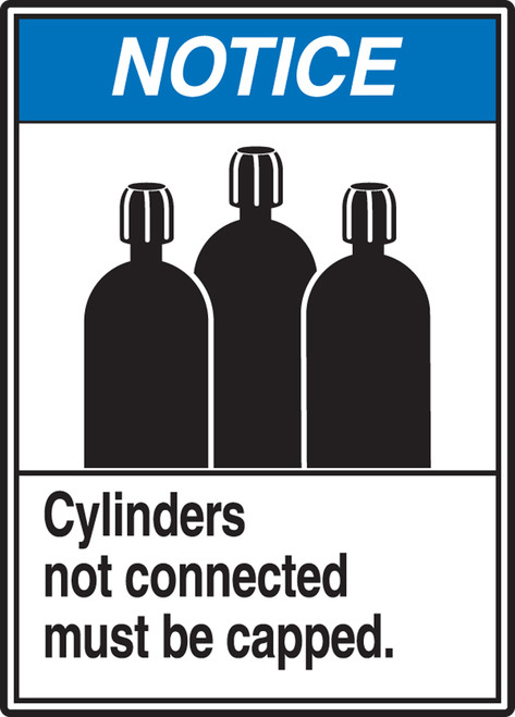 Notice - Cylinders Not Connected Must Be Capped (W/Graphic) - Plastic - 14'' X 10''