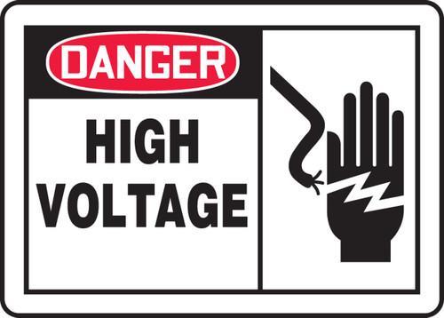 Danger - High Voltage (W/Graphic) - Adhesive Dura-Vinyl - 10'' X 14''