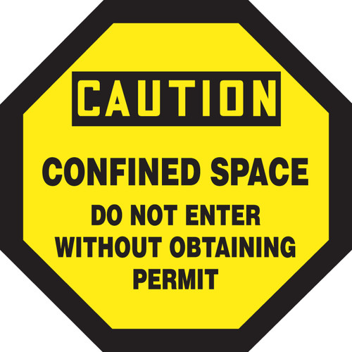 Caution - Confined Space Do Not Enter Without Obtaining Permit - Re-Plastic - 12'' X 12''