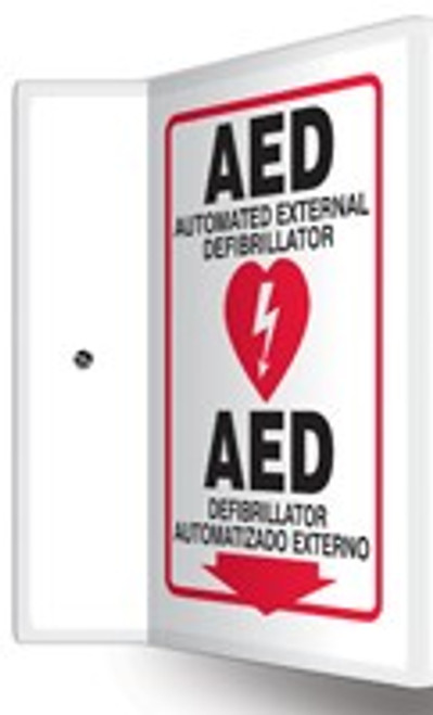 """AED Sign- Bilingual Spanish AED Sign- 90D-  12"""" x 9"""" panel"""