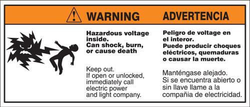 Biliingual ANSI Warning Safety Label Hazardous Voltage Inside SLELC396