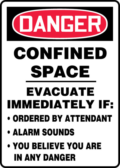 Danger - Confined Space Evacuate Immediately If: Ordered By Attendant Alarm Sounds You Believe You Are In Any Danger - Dura-Plastic - 14'' X 10''