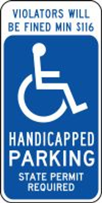 (Connecticut) Violators Will Be Fined Min $85 Handicapped Parking State Permit Required Sign