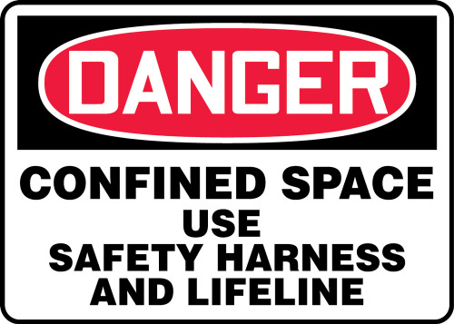 Danger - Confined Space Use Safety Harness And Lifeline