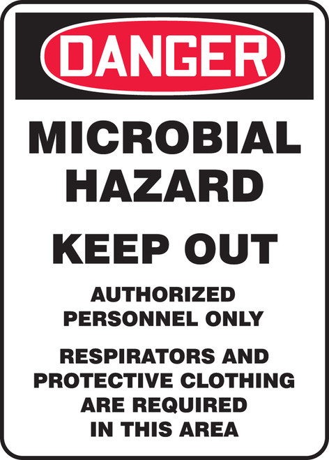 Danger - Microbial Hazard Keep Out Authorized Personnel Only Respirators And Protective Clothing Are Required In This Area - Accu-Shield - 14'' X 10''