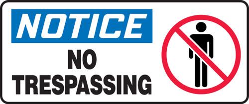 Notice - No Trespassing (W/Graphic) - Adhesive Dura-Vinyl - 7'' X 17''