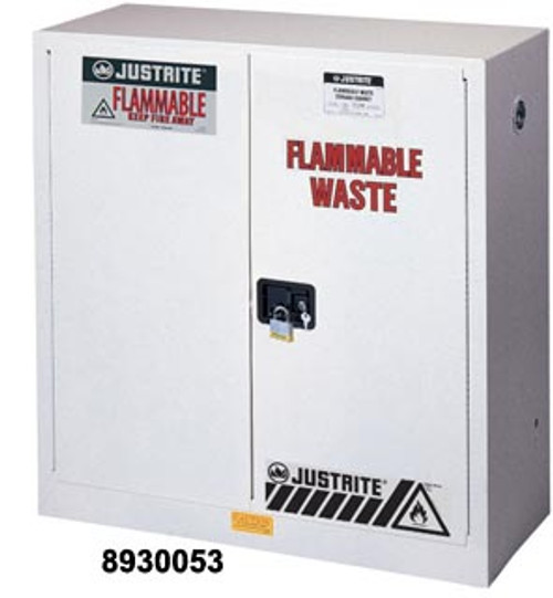 White Flammable Waste Storage Cabinet-30 Gallon Capacity- Self Close Door