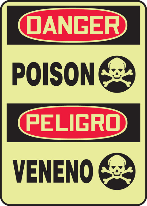 Poison Sign- Bilingual Spanish Safety Sign- glow
