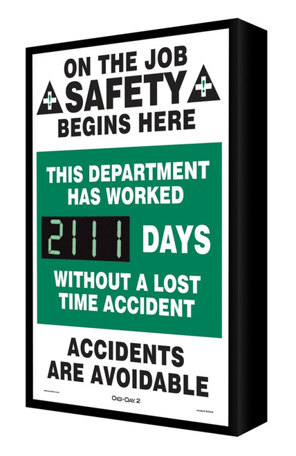 Digi Day 2 Electronic Safety Scoreboard Backlit- This Department Has Worked SCF211
