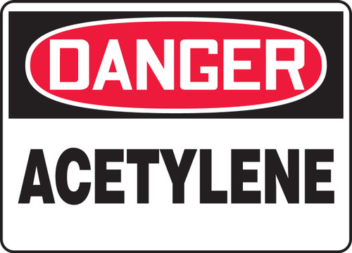 Danger - Acetylene - .040 Aluminum - 10'' X 14''