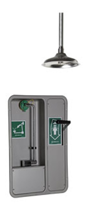 Barrier Free Combo Wall Mount Recessed Emergency Shower/ Eyewash