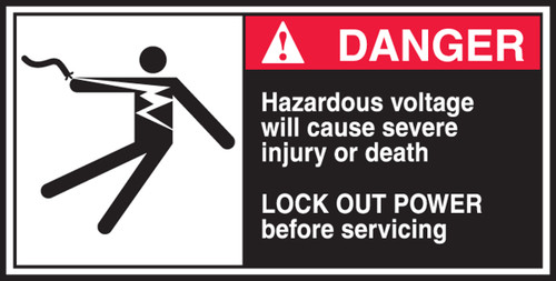Hazardous Voltage Will Cause Severe Injury Or Death Lock Out Power Before Servicing (w/graphic)