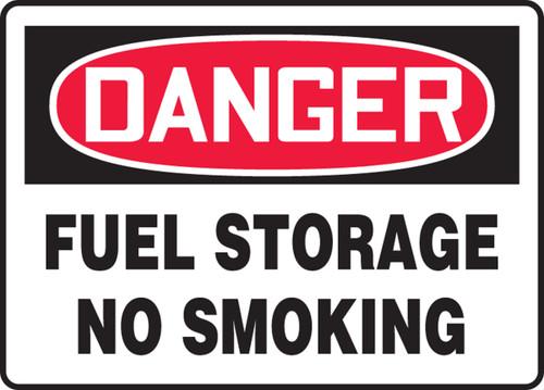 Danger - Fuel Storage No Smoking - Re-Plastic - 10'' X 14''