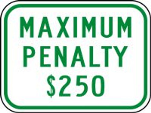 (N. Carolina) Maximum Penalty $250 Sign
